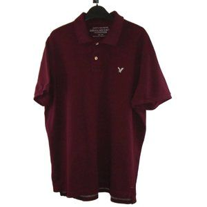AEO Mens Polo Shirt XXL Burgundy Red Athletic Fit